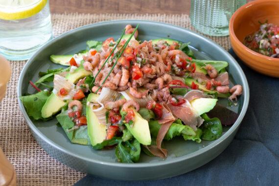foto recept salade met grega en garnalen